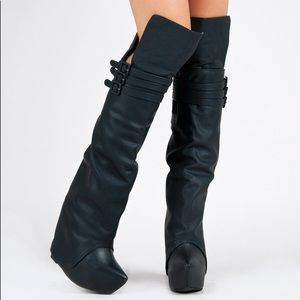 Jeffrey Campbell Zealot Black Leather Wedge Boots